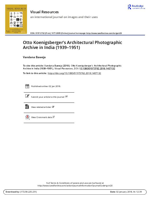PDF) Otto Koenigsberger's Architectural Photographic Archive