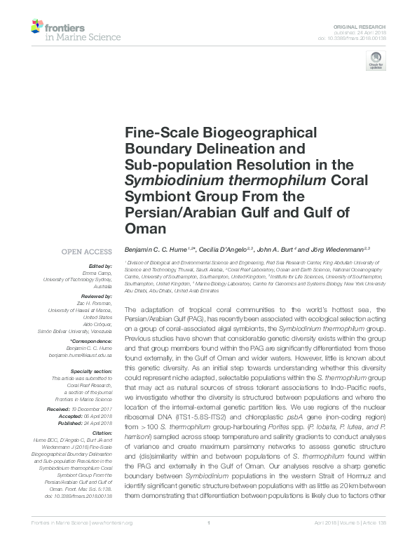 PDF) Fine-Scale Biogeographical Boundary Delineation and Sub