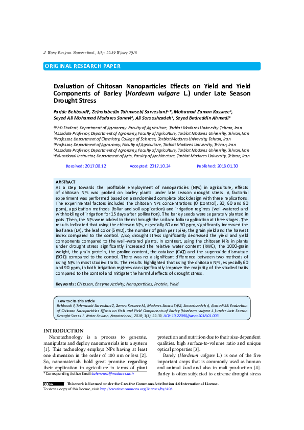 PDF) Evaluation of Chitosan Nanoparticles Effects on Yield
