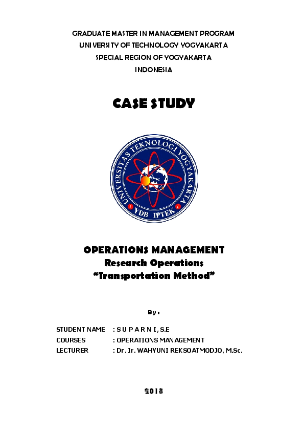 PDF) Case Study Operation Management  Operation Research  Linear