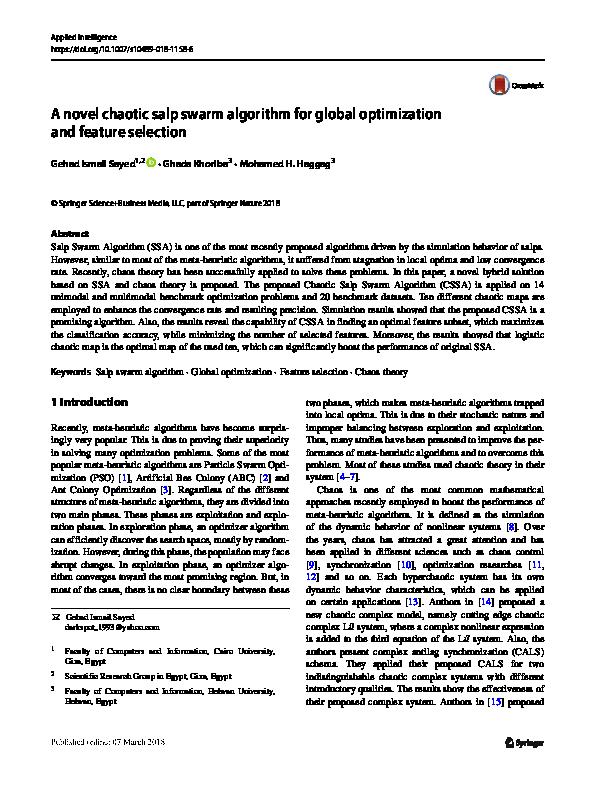 A novel chaotic salp swarm algorithm for global optimization and