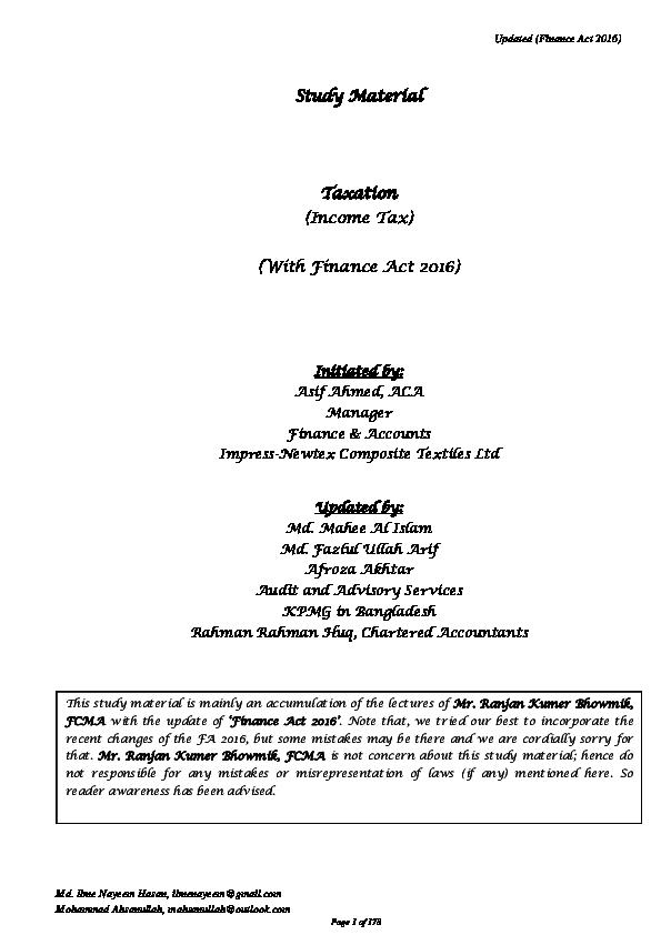 PDF) Updated (Finance Act 2016 | Abu Sayeed - Academia edu