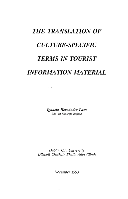 PDF) THE TRANSLATION OF CULTURE-SPECIFIC TERMS IN TOURIST