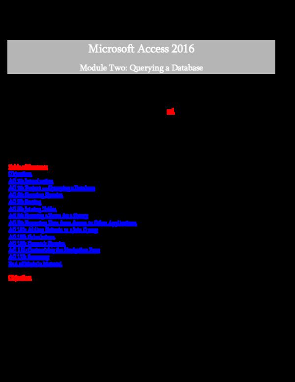 PDF) Access 2016 Instructor's Manual   1OJSF4 Q0J1QM