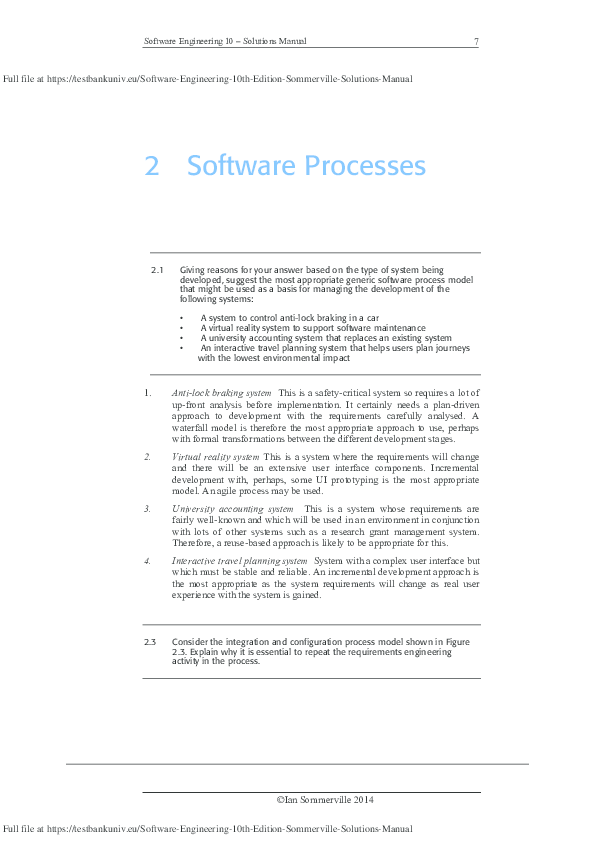 PDF) Software Engineering 10 – Solutions Manual | TUEOGD 08AB28