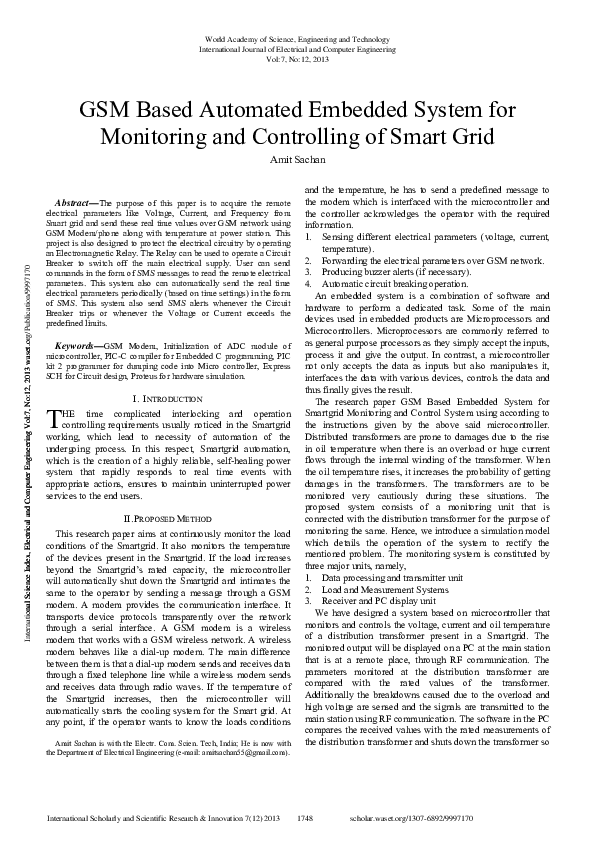 Pdf Gsm Based Automated Embedded System For Monitoring And Controlling Of Smart Grid 2 Subhash Patidar Academia Edu