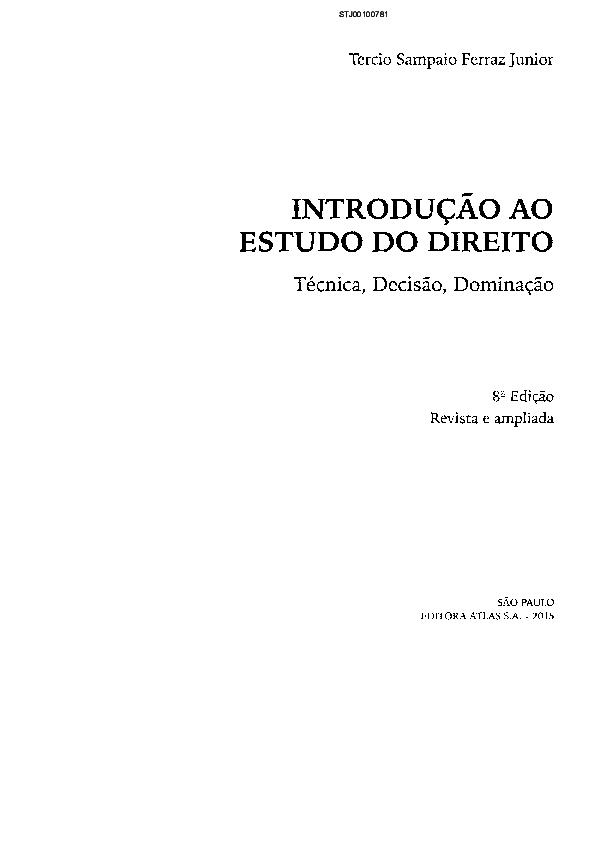 Tercio Sampaio Ferraz Jr. - Bertrand Livreiros - livraria ...