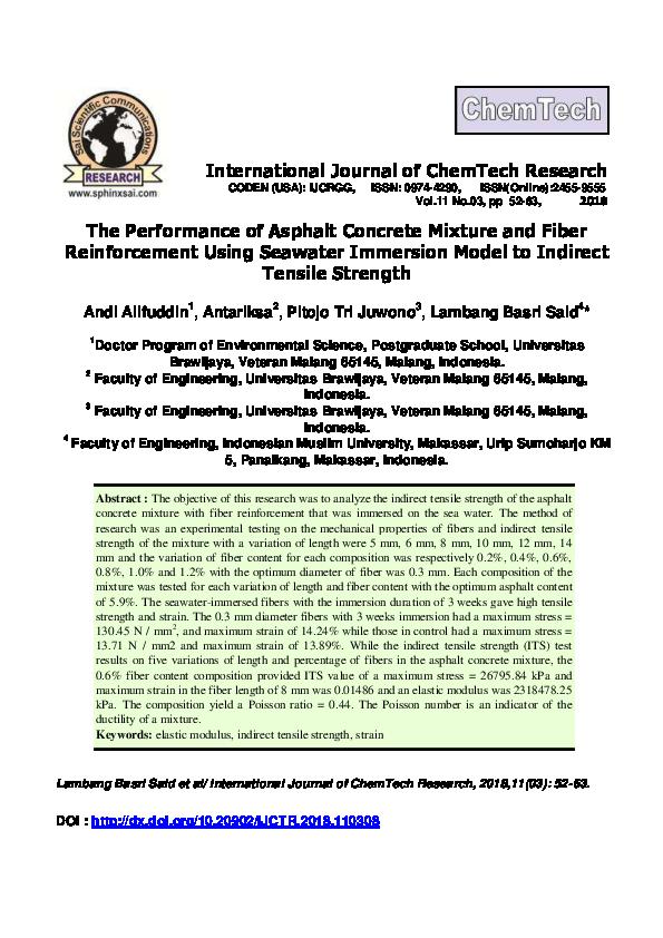 PDF) The Performance of Asphalt Concrete Mixture and Fiber