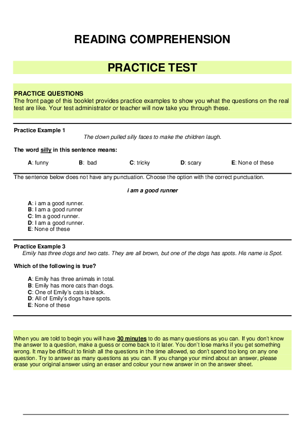 PDF READING PREHENSION PRACTICE TEST