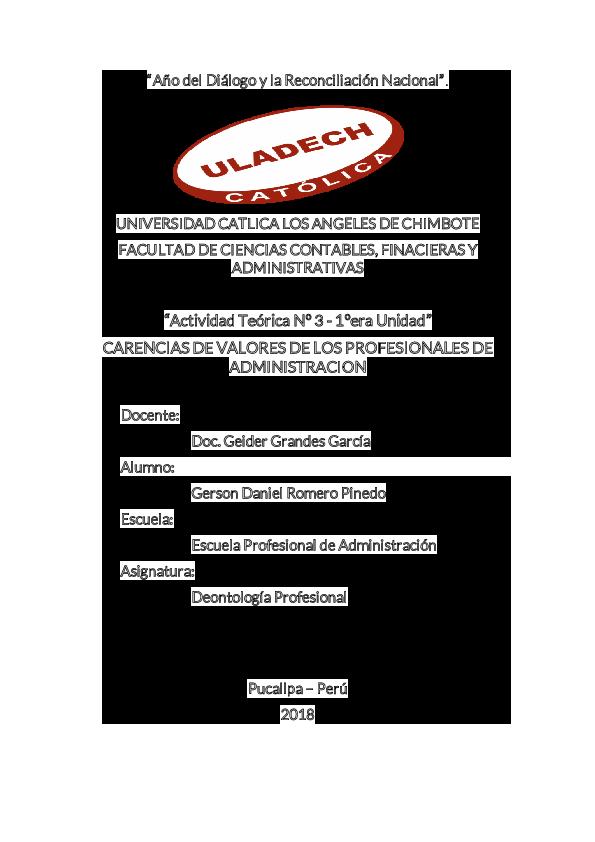 PDF) Valores de los Profesionales en Administracion | Gerson