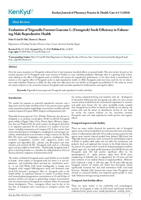 PDF) Mini Review Evaluation of Trigonella Foenum Graecum L
