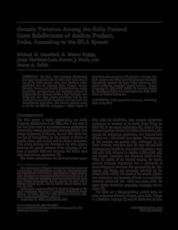 PDF) Genetic variation among the Golla pastoral caste