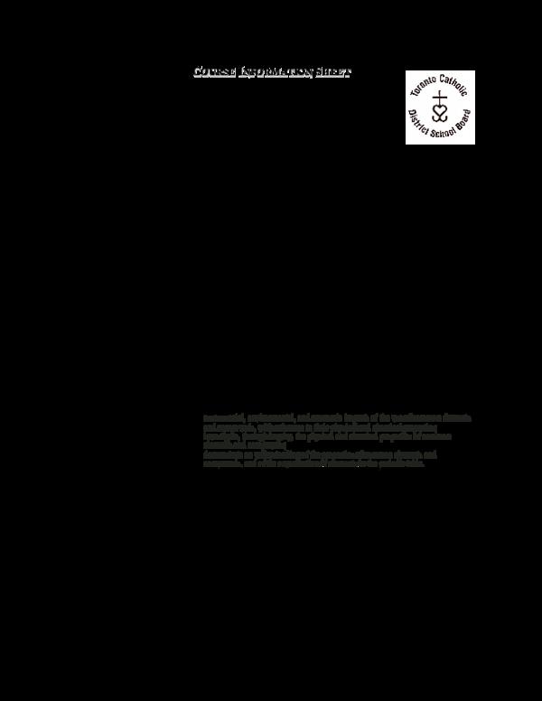 DOC) Course Information Sheet Science Grade 9 Academic Course Code