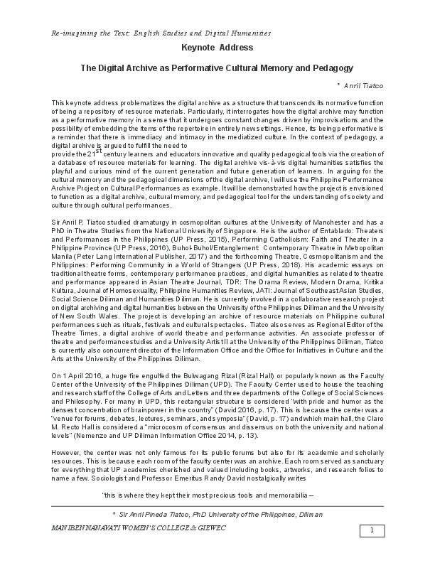 PDF) Reimagining The Text English Language & Digital