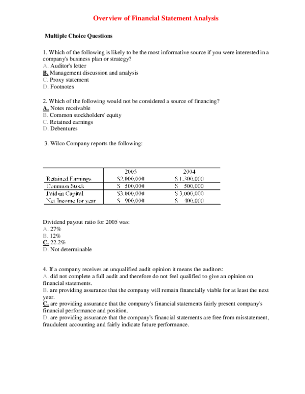DOC) Overview of Financial Statement Analysis Multiple