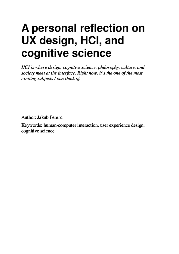 Pdf A Personal Reflection On Ux Design Hci And Cognitive Science Jakub A L B E R T Ferenc Academia Edu
