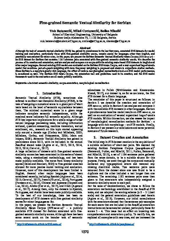 PDF) Fine-grained Semantic Textual Similarity for Serbian | Vuk