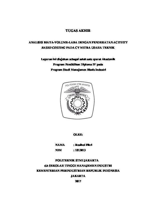 (PDF) ANALISIS BIAYA-VOLUME-LABA DENGAN PENDEKATAN