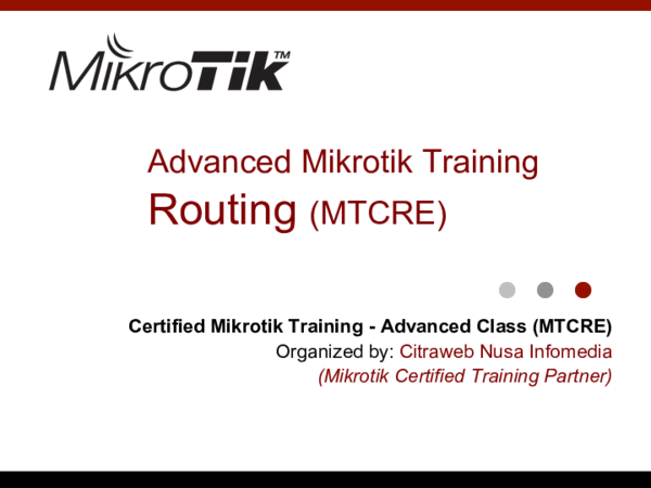 PDF) Advanced Mikrotik Training Routing (MTCRE | Pasar Baru
