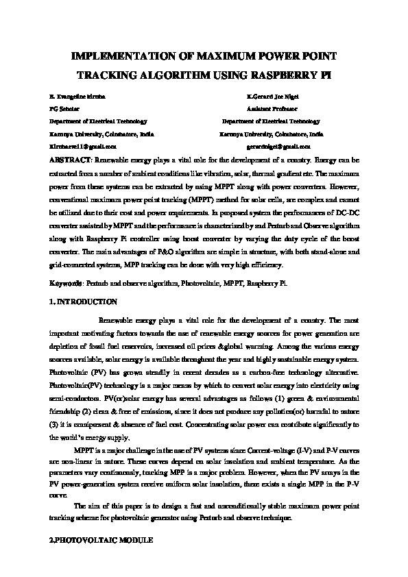 PDF) IMPLEMENTATION OF MAXIMUM POWER POINT TRACKING ALGORITHM USING