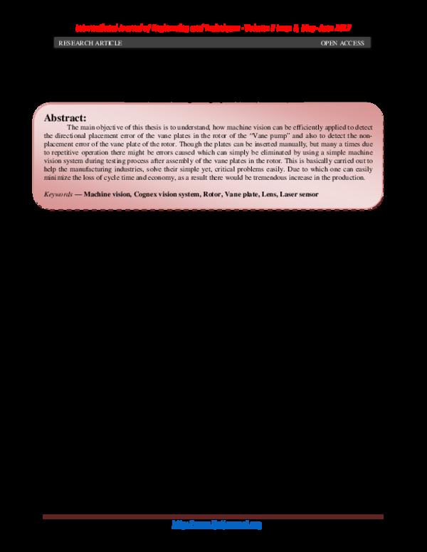 PDF) Vane Plate Placement Error Detection Using Machine