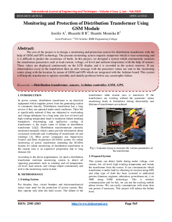 PDF) Monitoring and Protection of Distribution Transformer