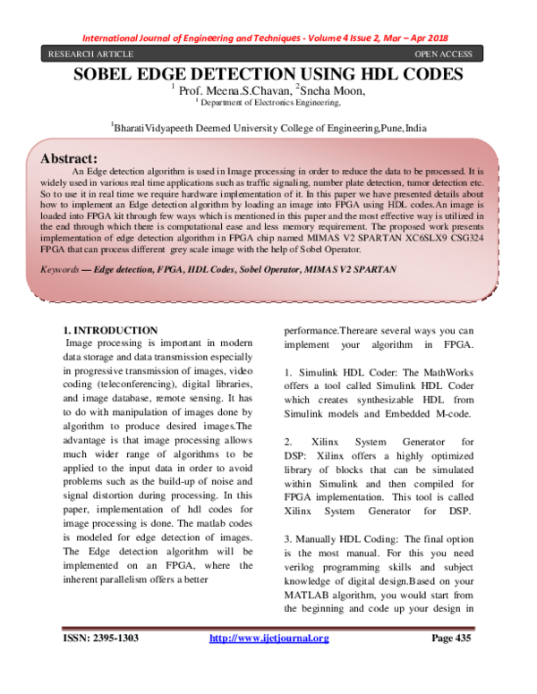 PDF) SOBEL EDGE DETECTION USING HDL CODES | International Research