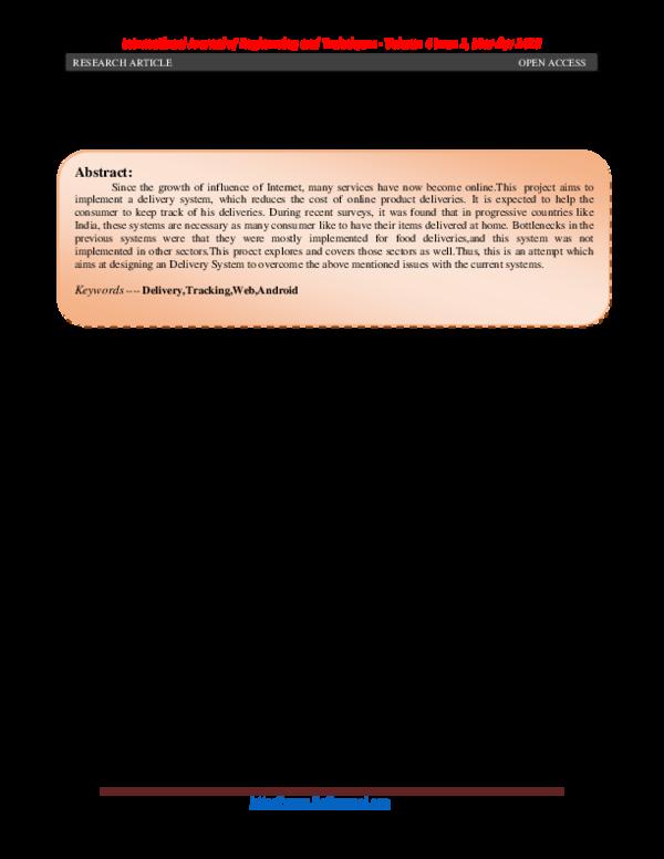 PDF) ONLINE DELIVERY TRACKING SYSTEM | International