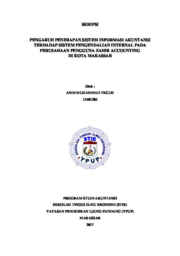 Pdf Skripsi Pengaruh Penerapan Sistem Informasi Akuntansi