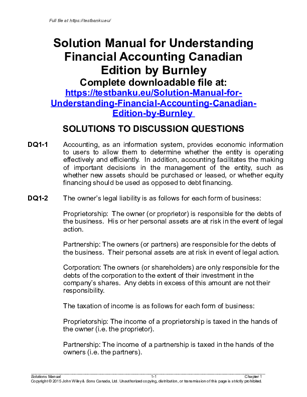 Doc Solution Manual For Understanding Financial Accounting Canadian Edition By Burnley Complete Downloadable File At Https Testbanku Eu Solution Manual For Understanding Financial Accounting Canadian Edition By Burnley Solutions To Discussion