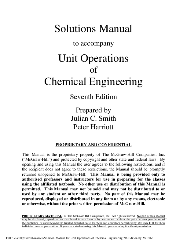 PDF) Solution Manual for Unit Operations of Chemical