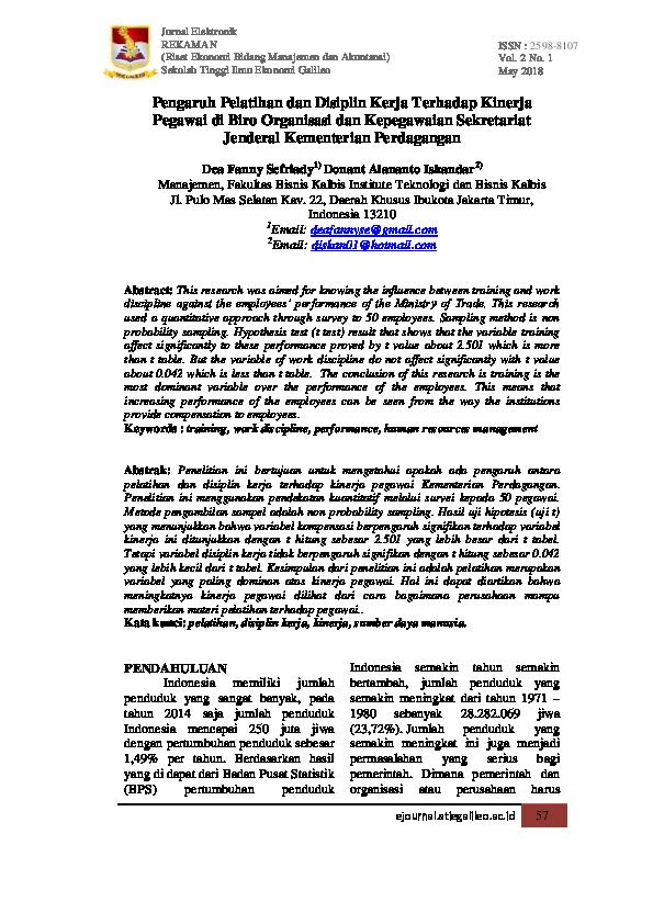 Pdf Pengaruh Pelatihan Dan Disiplin Kerja Terhadap Kinerja Pegawai Di Biro Organisasi Dan Kepegawaian Sekretariat Jenderal Kementerian Perdagangan Jurnal Rekaman And Donant Alananto Iskandar Academia Edu