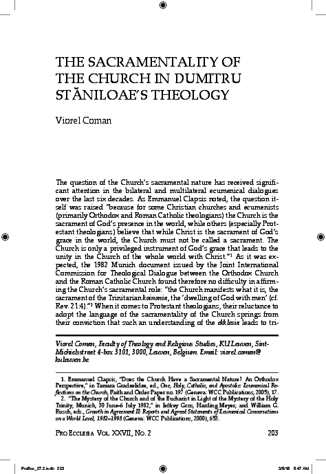PDF) The Sacramentality of the Church in Dumitru Staniloae's