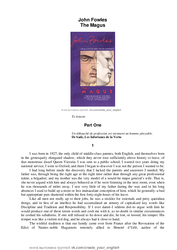 PDF) John Fowles The Magus Part One | Hope Lawson - Academia edu