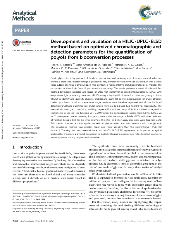 PDF) Development and validation of a HILIC-UPLC-ELSD method