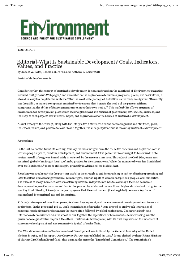 PDF) Editorial-What Is Sustainable Development? Goals