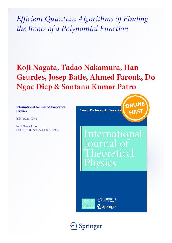 PDF) Efficient Quantum Algorithms of Finding the Roots of a