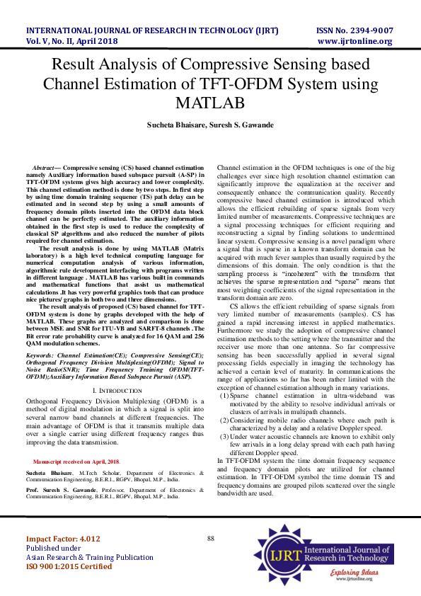 PDF) Result Analysis of Compressive Sensing based Channel Estimation