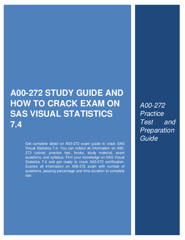 A00 272 Study Guide And How To Crack Exam On Sas Visual Statistics