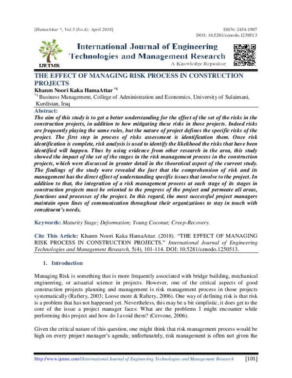 PDF) THE EFFECT OF MANAGING RISK PROCESS IN CONSTRUCTION PROJECTS