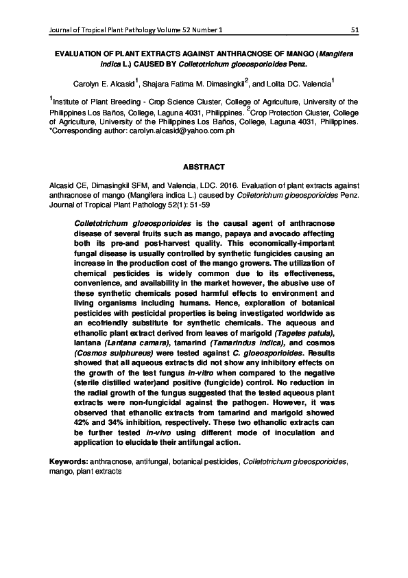 PDF) EVALUATION OF PLANT EXTRACTS AGAINST ANTHRACNOSE OF MANGO