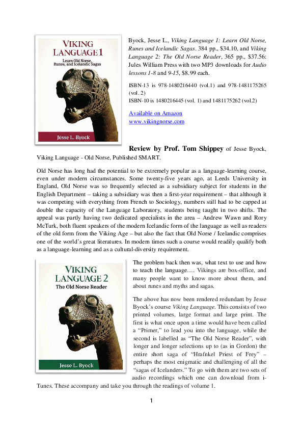 PDF) Byock, Jesse L , Viking Language 1 Learn Old Norse, Runes, and
