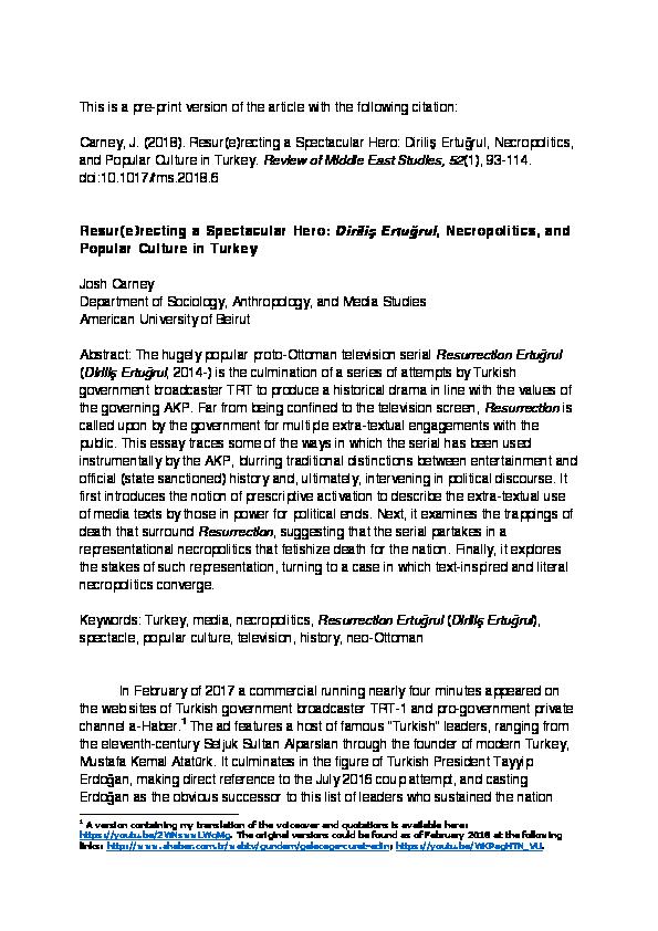 PDF) Resur(e)recting a Spectacular Hero: Diriliş Ertuğrul