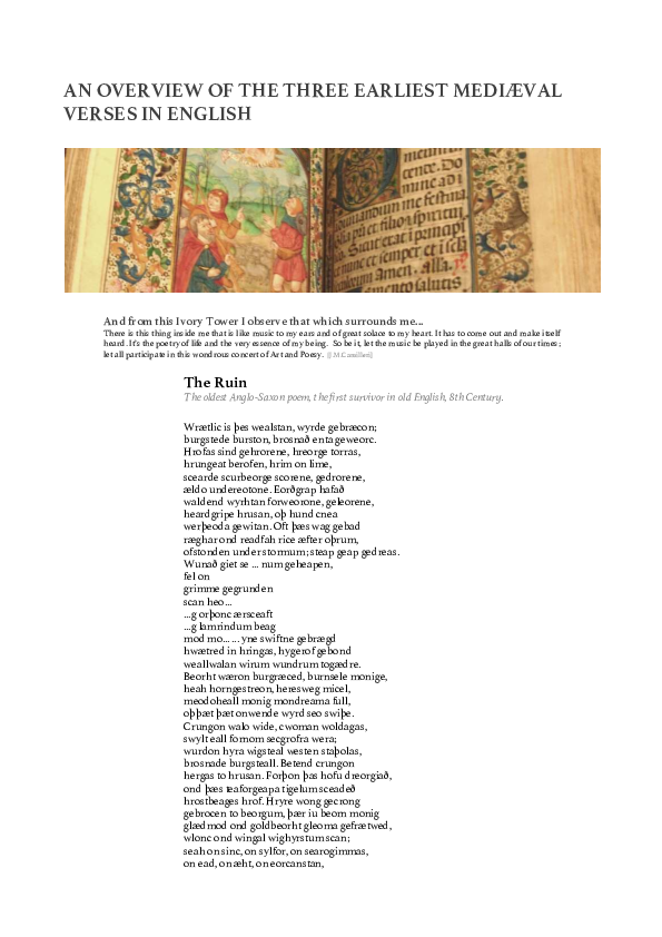 Pdf An Overview Of The Three Earliest Mediaeval Verses In
