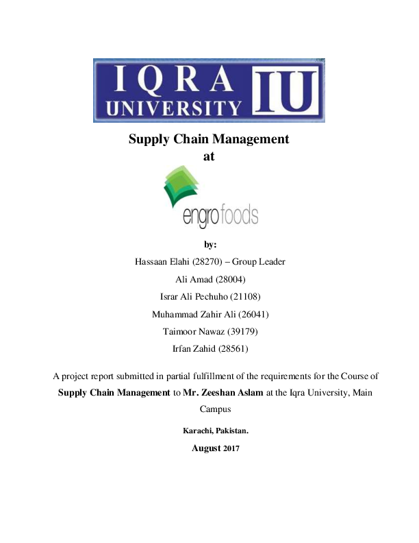 PDF) Supply Chain Management at Engro Foods - Iqra