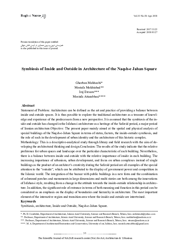 PDF) Symbiosis of Inside and Outside in Architecture of the Naqsh-e