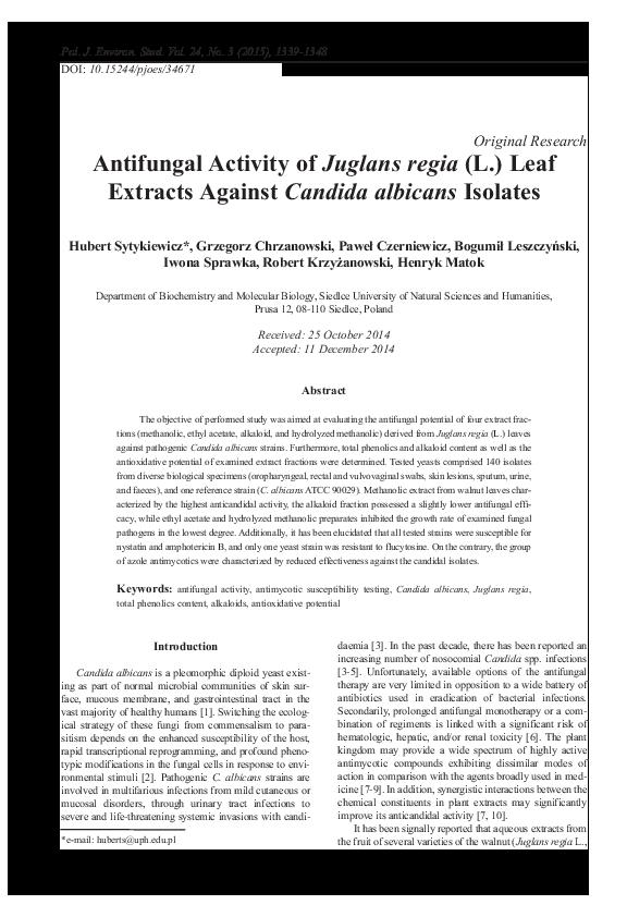 PDF) ANTIFUNGAL ACTIVITY OF JUGLANS REGIA (L ) LEAF EXTRACTS
