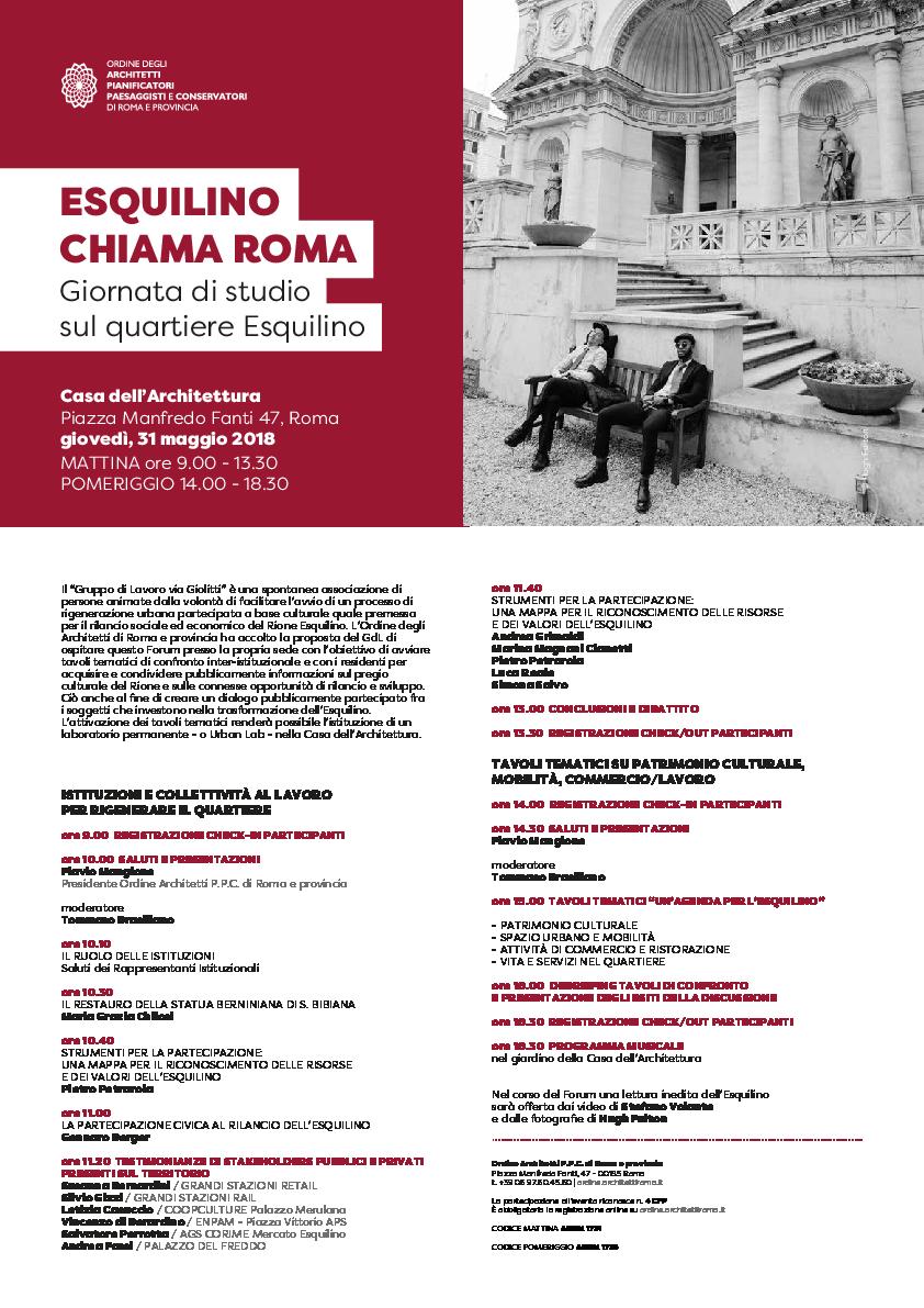 Studi Architettura Roma Lavoro pdf) esquilino chiama roma / giovedì 31 maggio 2018, casa