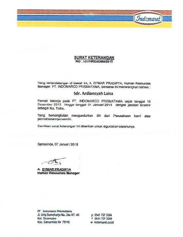 Pdf Surat Pengalaman Kerja Ardian Laisa Academiaedu