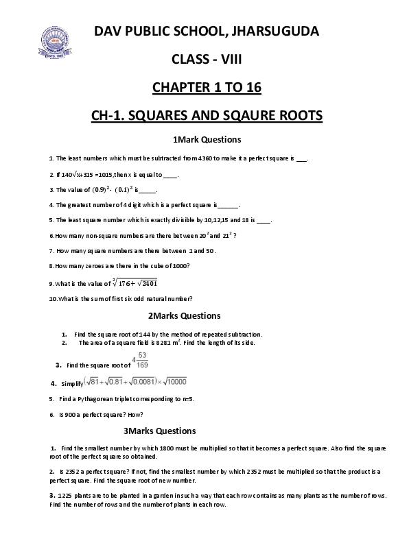 PDF) DAV PUBLIC SCHOOL, JHARSUGUDA CLASS -VIII CHAPTER 1 TO 16 CH-1